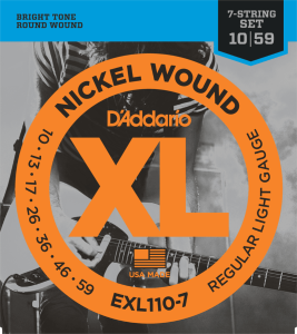 D'Addario EXL110-7 (10-59) Regular Light 7 Cordes
