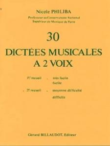 30 DICTEES MUSICALES A 2 VOIX VOLUME 2